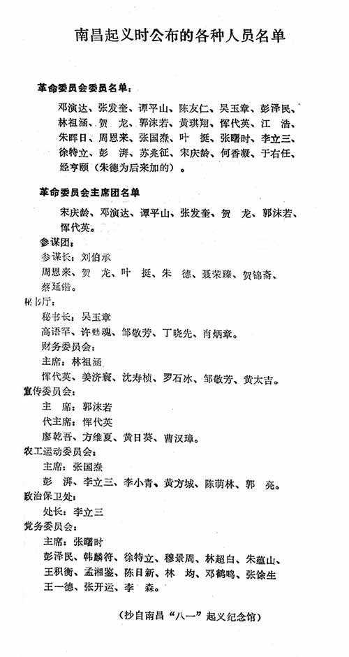 南昌起义时公布的各种人员名单 图片来源见后